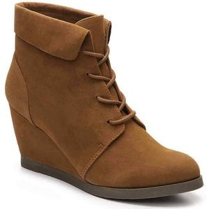 Madden Girl Brown faux suede ankle wedge boots